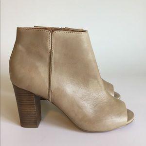 Aldo Beige Open Toe Ankle Boots size 7.